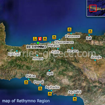 Map of Rethymno Crete Greek Islands Greece