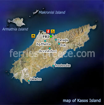 Map of Kasos Island Dodecanese Greece