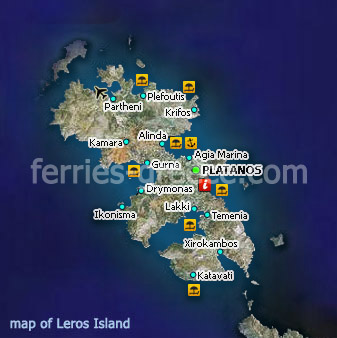 Map of Leros Island Dodecanese Greek Islands Greece