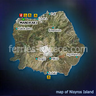 Map of Nisyros Island Dodecanese Greece