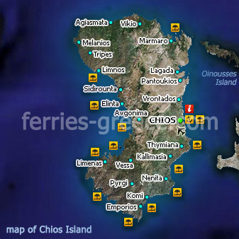 Map of Chios Island East Aegean Greece