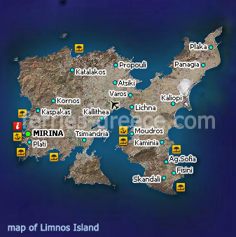 Map of Limnos Island East Aegean Greece