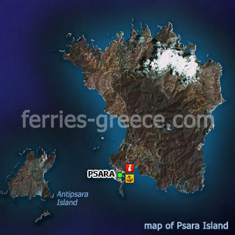 Map of Psara Island East Aegean Greece