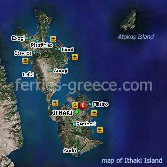 Map of Ithaka Island Ionian Greece