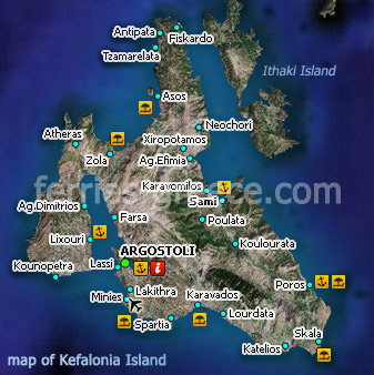Map of Kefalonia Island Ionian Greece