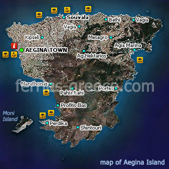 Map of Aegina Island Saronic Greece