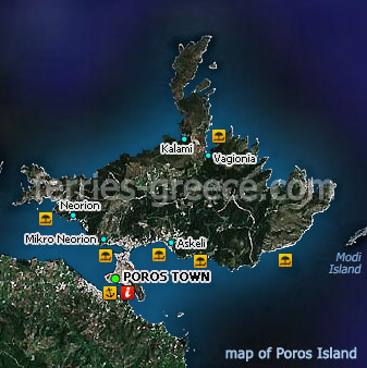 Map of Poros Island Saronic Greece